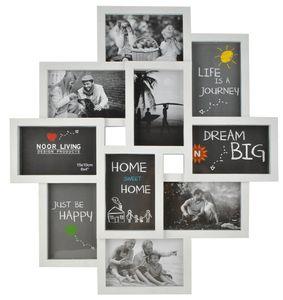 Bilderrahmen Collage für 10 Fotos Bilder Kunststoff 10x15 Familie  6297, Farbe:Weiß / white
