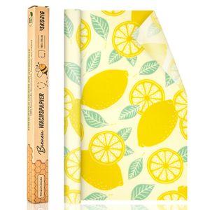 100x33cm Rolle Wachspapier wiederverwendbare Bienenwachstücher Lebensmittelverpackung nachhaltige Frischhaltefolie umweltfreundlich Lebensmittel-Wrap - Zitrone