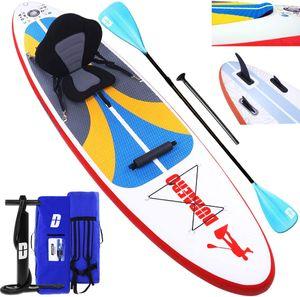 Stand up Paddle Board Aufblasbare SUP Board Set, Kajak Komplett-Set, Luftpumpe, Doppel-Paddel, Komplettes Zubehör, 305x76x15cm, bis 110kg, Weiß