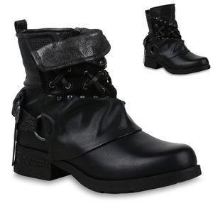 Mytrendshoe Damen Stiefeletten Biker Boots Nieten Leicht Gefütterte Schuhe 823966, Farbe: Schwarz, Größe: 37