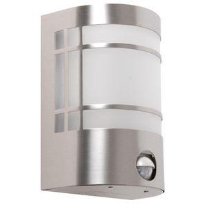 Edelstahl Wandlampe mit Bewegungsmelder, Höhe 19 cm