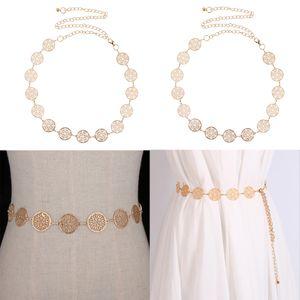 2 Paket Frauen Einstellbar Dress Taille Kette Gürtel Metall Körper Kette Bauch Taille Bikini Strand Gold Münzen Bund