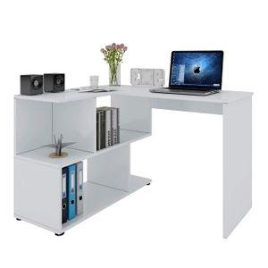 WOLTU Schreibtisch TS64ws Computertisch Eckschreibtisch Winkelschreibtisch Bürotisch Arbeitstisch PC Laptop Tisch, mit Ablagen, MDF, Weiß