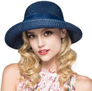 Sonnenhut Damen, Strohhut Damen Sommerhut Stroh Faltbar UV Schutz Kappe Breiter Krempe Sommer Strand Hüte Outdoor Hut