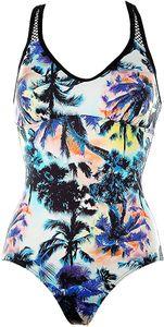 Sunseeker Damen Badeanzug mit Softshalen und Mesh-Einsatz Tropical Print Grösse: 40