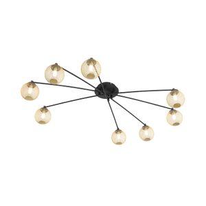 QAZQA - Landhaus | Vintage Moderne Deckenleuchte | Deckenlampe | Lampe | Leuchte schwarz mit Gold | Messingenen 8 Lichtern - Athens Wire | Wohnzimmer | Schlafzimmer | Küche - Glas Rund - LED geeignet G9