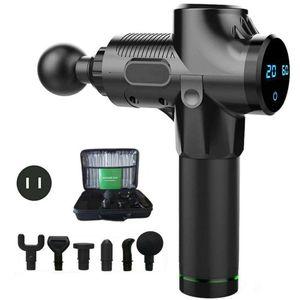 Elektrische Massage Gun Handgehaltene Massagepistole Massager Muscle Massagegerät + 6 Köpfe 2400mAh Li-Ion 30 Gänge einstellbar LED-Anzeige schwarz