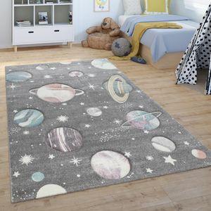Kinder-Teppich, Spiel-Teppich Für Kinderzimmer, Mit Weltall-Motiv, Grün Blau, Grösse:80x150 cm