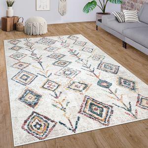 Teppich Wohnzimmer Kurzflor Modernes Ethno Boho 3D Muster Rauten In Creme Bunt, Grösse:80x150 cm