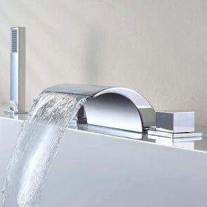 5-Loch Set Badewannen Armatur Wasserhahn Wasserfall Messing Armatur Handbrause