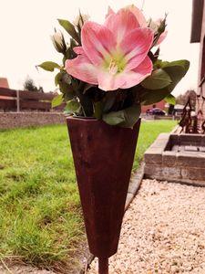 Edelrost Grabvase Blumentopf Vase