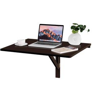 COSTWAY Wandtisch klappbar, Wandklapptisch , 80x60cm, Klapptisch aus Holz Braun