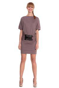 Damen Kleid Dress Locker Luftig Fledermaus Kurzarm Abendkleid Cocktailkleid Gr. S M 36 38, 4087 Cappuccino