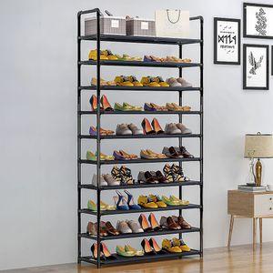 Schuhregal  Schuhablage 10 Böden - Metall schwarz für 50 Paare Schuhe