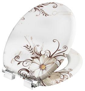 CORNAT WC-Sitz Brown Flower mit Absenkautomatik, Holzkern (MDF), Nachbildung, KSDSC541