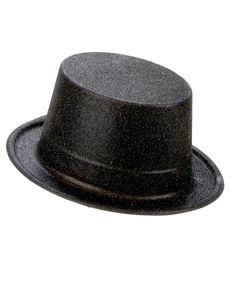 Glitzer-Zylinder Party-Hut schwarz