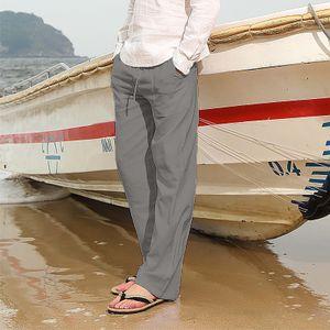 Herrenmode Baumwolle Leinen Plus Size Casual Elastische Taillentaschen Lange Hosen Farbe:Grau,Größe:XXL
