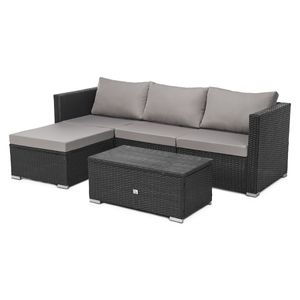 SVITA QUEENS Polyrattan Lounge Eck-Sofa Gartenmöbel Set schwarz