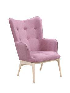SIT Möbel Polstersessel | Bezug Stoff rosa | Gestell Stahl in Holzoptik natur | B 87 x T 71 x H 98 cm | 02441-24 | Serie SIT&CHAIRS