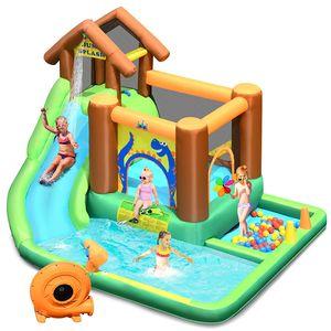 GOPLUS Aufblasbarer Hüpfburg mit Gebläse, Wasserpark mit Gebläse mit Rutsch und Kletterwand, Planschbecken für Kinder 3+ Jahre, Spielpool inkl.Tragetasche, 368x303x230cm