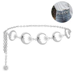 Kettengürtel Gürtel Taillenkette für Kleid Metall Link Kette Für Damen Mond-Sonne-Stern Gürtelkette