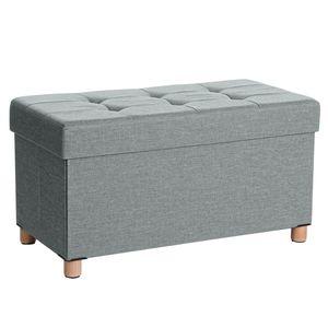 SONGMICS Sitztruhe Sitzhocker Fußhocker mit Stauraum und Deckel mit Holzfüßen, 76 x 38 x 40 cm hellgrau LSF16GYX