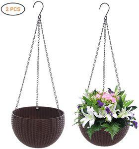 2 Stück Blumenampel Hängen Balkon Blumenampel Rattan Blumentopf Hängetopf für Garten, Balkon, Fensterbank