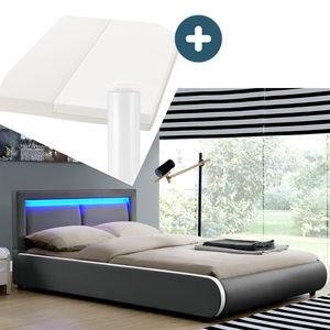 Juskys Polsterbett Murcia 140 x 200 cm Komplett-Set mit Matratze, Lattenrost, LED-Licht, Kopfteil - Kunstleder Bett - groß, massiv, modern & dunkel-grau