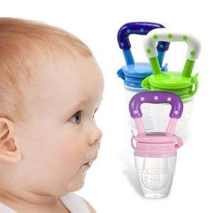 3 Stück Schnuller, Geschirr für Babynahrung, Schnuller für Obst und Ergänzungsfutter, blau + grün + pink