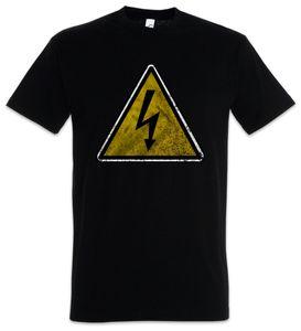 Urban Backwoods Caution High Voltage Vintage Logo Sign T-Shirt, Größe:4XL