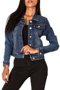 Damen Jeans Jacke Kurz Übergangsjacke Frühling Denim Weste, Farben:Dunkelblau, Größe:36