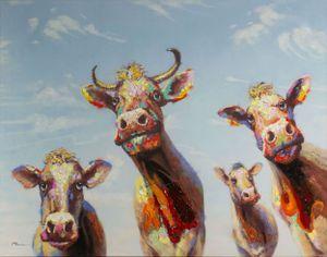 LC Home Ölbild Fröhliche Kühe 140x110 cm