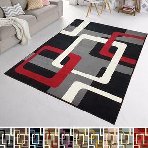 Velours Design Teppich Retros Kurzflor | verschiedene Farben modern, Farbe:schwarz/rot/grau/creme, Größe:160x230 cm