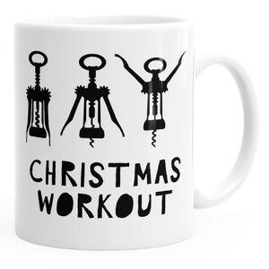 Weihnachts-Tasse Christmas Workout Flaschenöffner Korkenzieher Wein trinken Kaffee-Tasse MoonWorks® weiß unisize