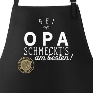 Grill-Schürze Küchenschürze mit Spruch Bei Opa schmeckt`s am besten grillen kochen Baumwoll-Schürze Küchenschürze Moonworks® schwarz unisize