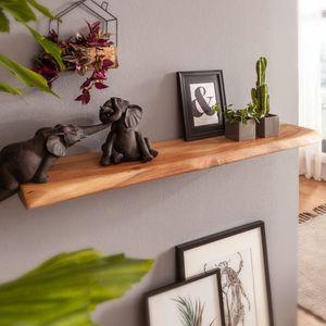 WOHNLING Wandregal mit Baumkante Akazie Massivholz 115 cm   Design Schweberegal Wandboard Massiv   Regal Holz Natur   Landhausstil Hängeregal
