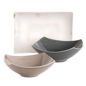 Mäser 931452 Derby Servier-Set, 1 Servierplatte & 2 eckigen Schalen, Durable Porzellan, weiß/dunkelgrau/beige, 3-teilig (1 Set)