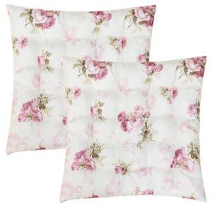 WOMETO 2er Set Sitzkissen Stuhlkissen Sitzpolster Rosi 40x40x4 cm - Rosen creme weiß rosa Sitzauflage Auflage für Haus und Garten Polster Landhaus