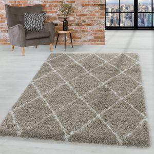 Design Hochflor Teppich Wohnzimmerteppich Muster Raute Flor Weich Farbe Beige, Farbe:Beige, Grösse:160x230 cm