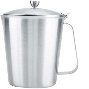 Mllaid Milchaufschäumer, Edelstahl-Milchaufschäumer Kaffeetasse Tasse mit Deckel & Maß Küchenzubehör