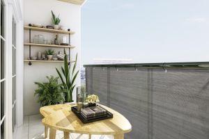 909 OUTDOOR Blickdichter Balkon Sichtschutz, Witterungsbeständige Balkonmarkise für Ihre Privatsphäre, Stabile Balkonbespannung in anthrazit, 500 x 90 cm