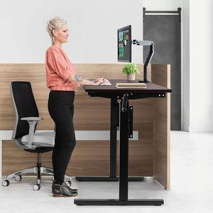 GOPLUS Höhenverstellbarer Schreibtisch, Ergonomischer Sitz-Stehtisch mit verstellbaren Füßen, Ergonomisches Arbeiten im Sitzen und im Stehen, Tisch mit Handkurbel für Zuhause/Büro, Schwarz
