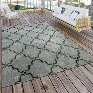 In- & Outdoor Teppich Modern Vintage Design Terrassen Teppich  Grau, Grösse:120x170 cm