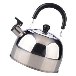 3L Wasserkocher - Pfeifen Herd Wasserkocher Teekanne mit Anti-Rutsch Griff, Pfeifkessel, silber
