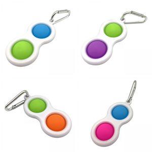 4x Einfaches Grübchen Schlüsselketten Druck Stressabbau Sensor Handspielzeug