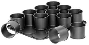 Zenker 12er-Mini-Törtchen-Backblech Ø 8,5 cm SPECIAL CREATIVE, Cupcake Backform mit Antihaftbeschichtung, Ofenform für kleine runde Kuchen (Farbe: Schwarz), Menge: 1 Stück