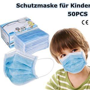 50x Mundschutz 3 lagig Kinder Einweg Atemschutz Maske Hygieneschutz Maske (Blau)