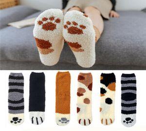 6 Paar Damen Warme Socken Samt Wintersocken Katzenpfoten Kuschelsocken Winter