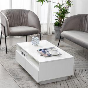 LED Couchtisch Sofatisch Hochglanz Beistelltisch Wohnzimmertisch mit 4 Schublade