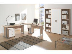"""Büro-Set Büroprogramm Bürokombination Büroeinrichtung Komplettset """"Clermont I"""" Sonoma-Eiche/Weiß"""